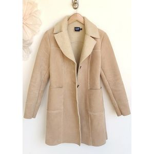 Gap Trench Coat Faux Suede and Wool